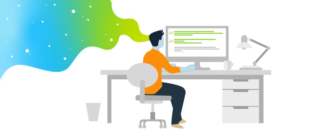 Infografía que muestra a un tipo con camisa naranja y pantalón negro sentado y trabajando en un escritorio con un monitor.