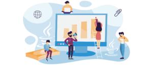 infografía que muestra a un equipo trabajando alrededor de un monitor megagrande. Chico a la izquierda en el teléfono inteligente, chico sentado en la parte superior del monitor trabajando en una computadora portátil, chica en la escalera dibujando un gráfico de barras en el monitor con un lápiz de gran tamaño, chico parado frente al monitor hablando por un megáfono, chica a la derecha del monitor tomando notas.