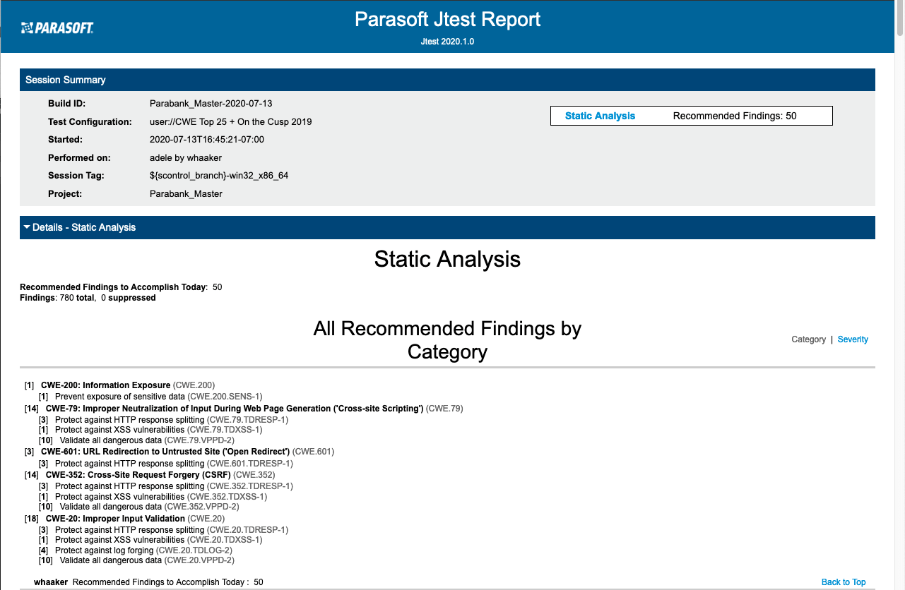 Finding SQL Injections: Parasoft Jtest Report