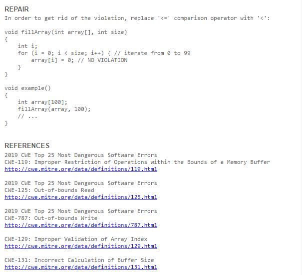 ParasoftC/C++test Example of Repair