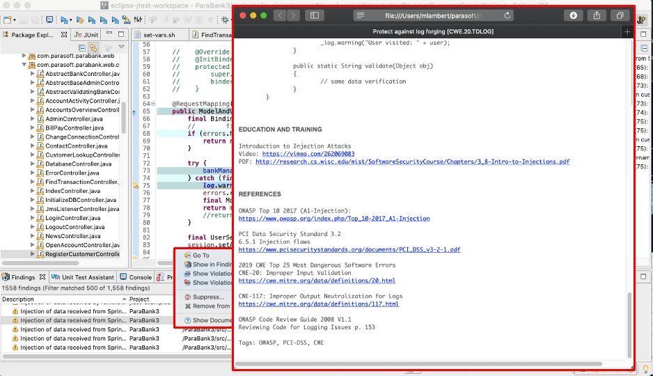 Parasoft C/C++test Example of Security Warnings