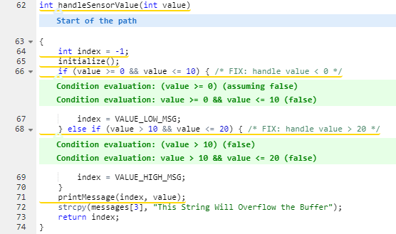 Parasoft C/C++test Example of Trace Info