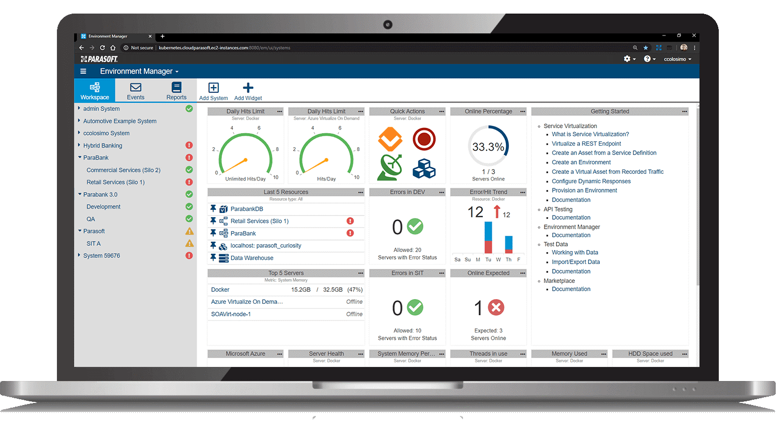 Espacio de trabajo de Parasoft Environment Manager