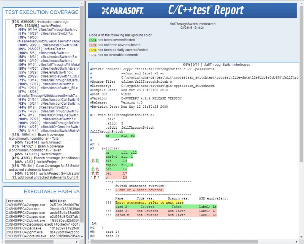 Parasoft's Assembly Coverage Tool (ASMTool)