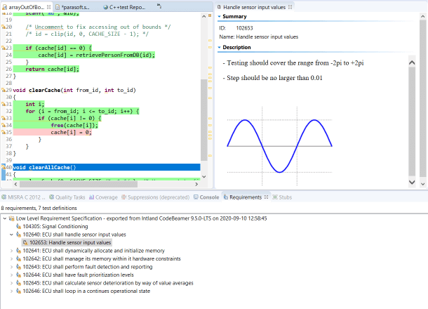 Screen capture of Parasoft C/C++test Requirements View showing sample data of handle sensor input values