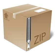 Icon of ZIP file shown as mail package with a zipper