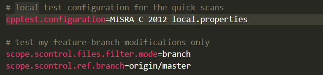 Screen capture of code for local test configuration for the quick scans
