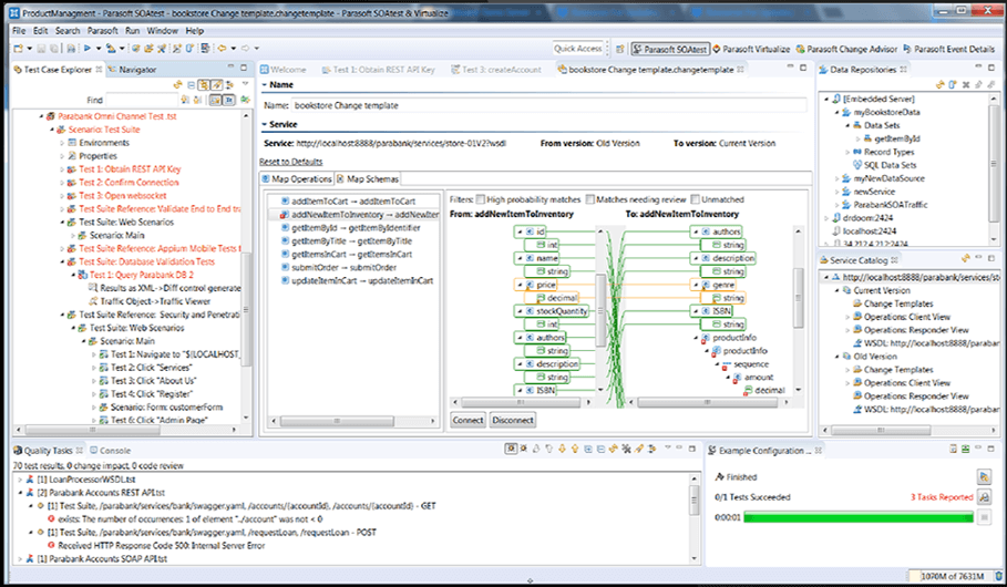 Screen capture of Parasoft SOAtest Product Management Test Case Explorer