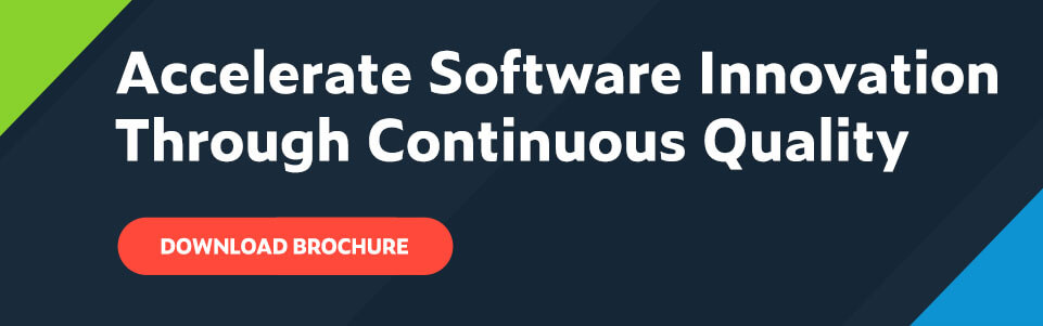 Accelerate Software Innovation Through Continuous Quality text with red call to action button that reads: Download Brochure