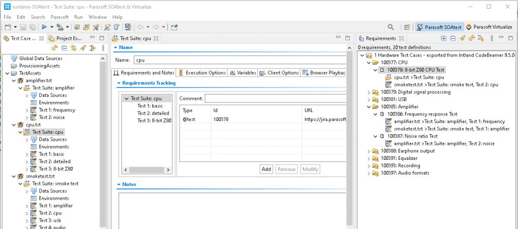 Screen capture of Parasoft SOAtest showing requirements-based execution as an extension to existing test impact analysis aligned with the code.