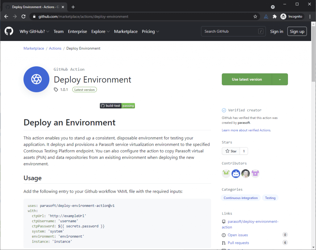 Screen capture for GitHub Deploy Environment.