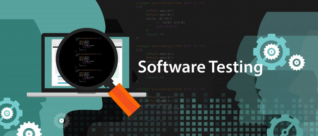 Magnifying glass over a monitor with source code script to find bugs. Software testing.
