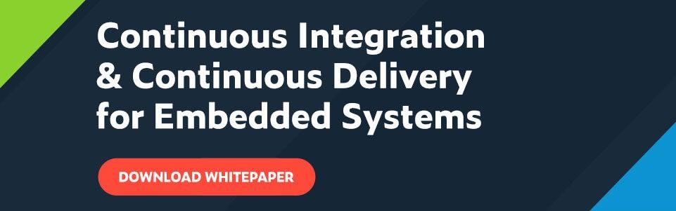 Texto blanco sobre fondo azul marino: Integración continua y entrega continua para sistemas integrados con un botón rojo debajo que dice Descargar documento técnico.