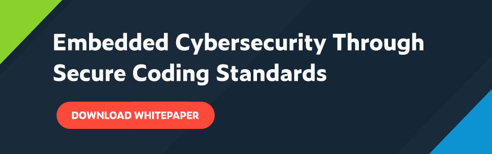 Text in white font on dark blue background: Embedded Cybersecurity Through Secure Coding Standards. Red button with white font underneath title: Download Whitepaper.