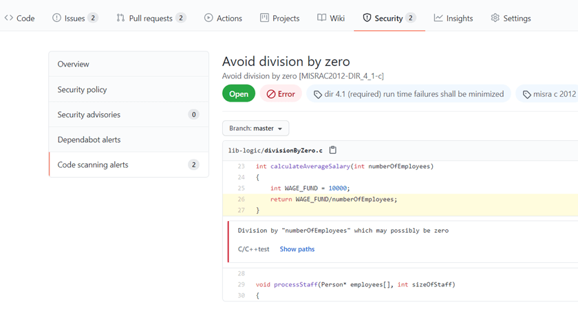 """Screen capture GitHub workflow that includes C/C++test static analysis results available in the Security tab, as """"Code scanning alerts""""."""