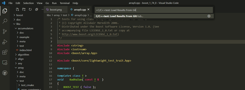 Screen capture of Visual Studio code plugin enhanced extension showing C/C++test load results from GitHub