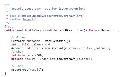 Captura de pantalla de código para una prueba unitaria significativa con una afirmación