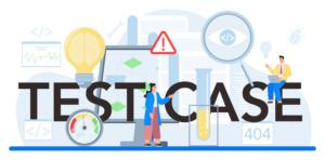 infografía que muestra a dos personas escribiendo un caso de prueba en medio de imágenes relacionadas con el código y la computadora