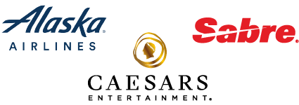 Logos for Alaska Airlines, Caesars Entertainment and Sabre