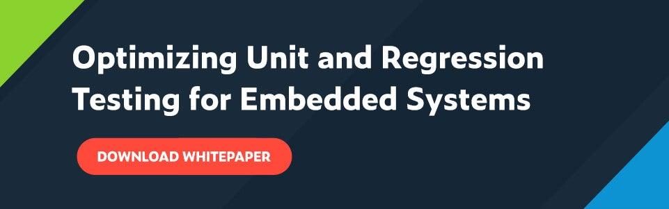 Texto blanco sobre fondo azul marino: Optimización de pruebas unitarias y de regresión para sistemas integrados con un botón rojo debajo que dice Descargar documento técnico.