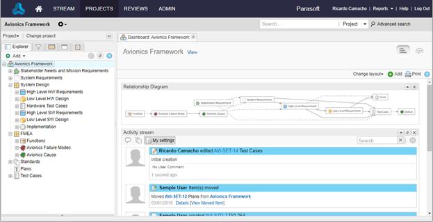 Captura de pantalla de un proyecto Jama Connect