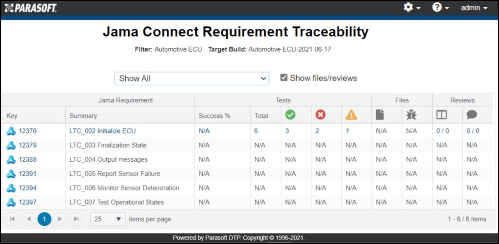 Captura de pantalla de la integración de Jama con la prueba Parasoft C / C ++: Trazabilidad de requisitos de Jama Connect que enumera todos los archivos para su revisión.