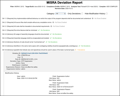 Captura de pantalla del Informe de desviación de MISRA utilizando la prueba Parasoft C / C ++ como herramienta de análisis. El informe enumera cada regla y estado de Sin reglas habilitadas, Sin desviaciones o desviaciones. Para aquellos con desviaciones, proporciona detalles como el ID de la regla, el tipo de desviación y el historial de modificaciones.