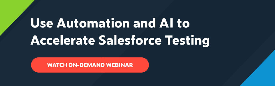 White text on navy background: Use Automation and AI to Accelerate Salesforce Testing with red button below that says Watch On-Demand Webinar