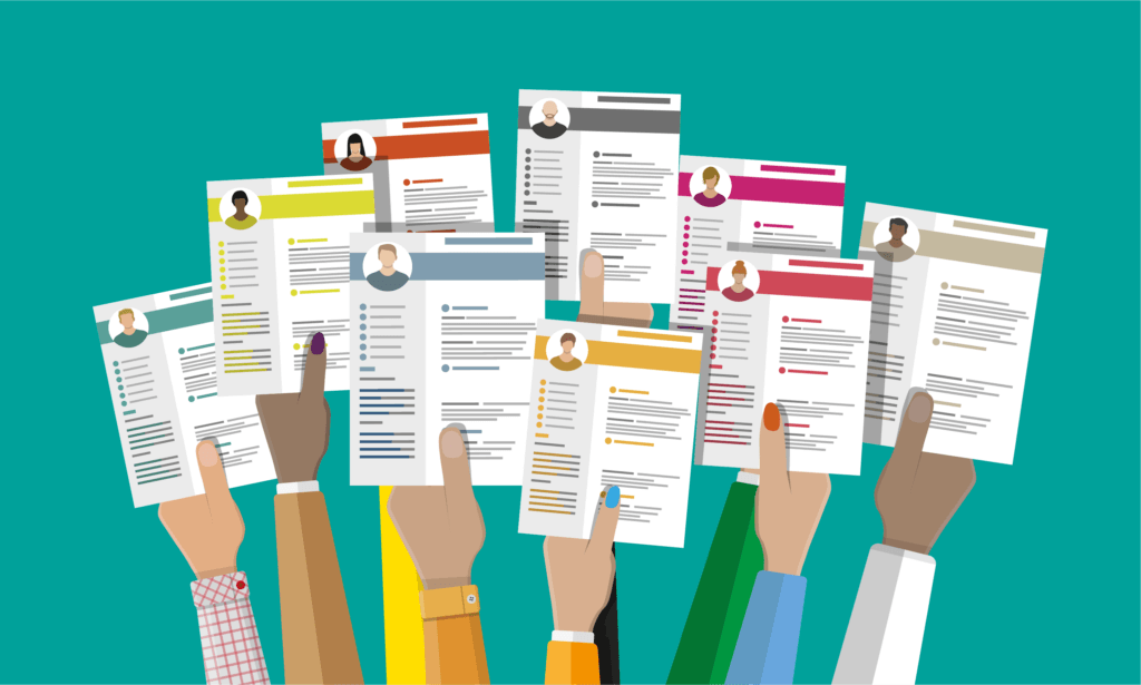 Vector art of multiple hands holding up software quality assurance resumes for QA job interviews.