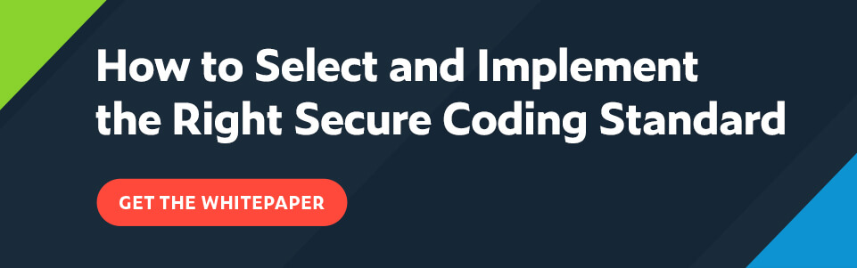 White text on navy background: How to Select and Implement the Right Secure Coding Standard with red button below that says Get the Whitepaper.